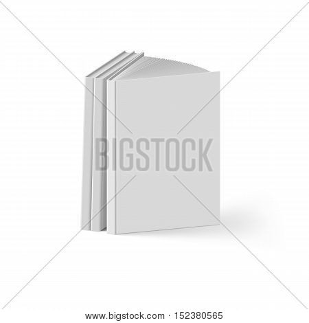 Stack of Gray Books on White Background. Mockup Template