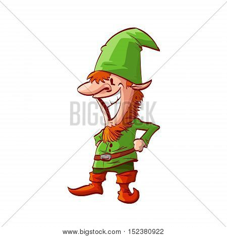 Colorful vector illustration of a christmas elf with green clothes and red beard and hair
