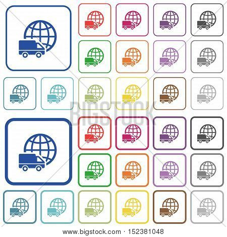 Set of international transport flat rounded square framed color icons on white background. Thin and thick versions included.