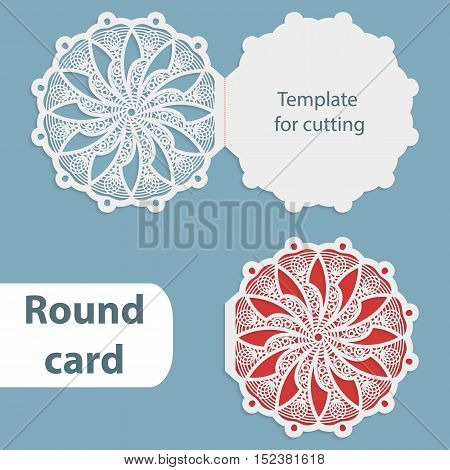 Laser cut wedding round card template paper openwork greeting card template for cutting lace invitation card for Christmas and New Year vector illustration