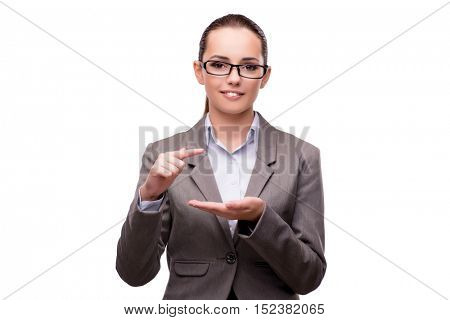 Bsuinesswoman pressing virtual buttons isolated on white
