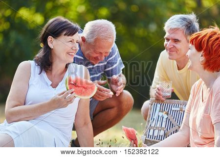 Senior citizens making a picnic in the park in summer eating fruit
