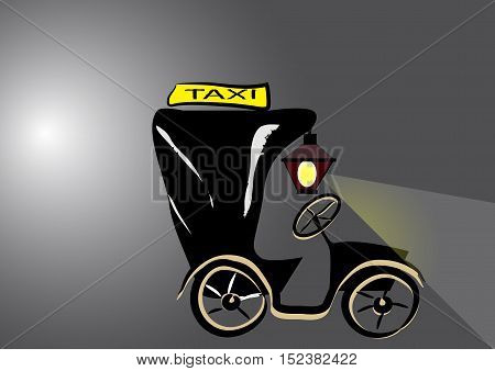 vector drawing of an old convertible taxi