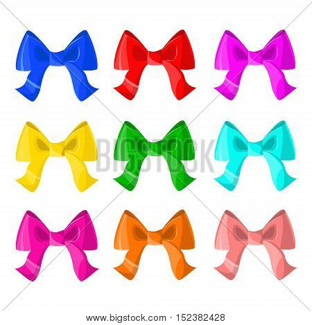 Set of colorful bows. Decoration. Vector isolated