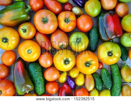 Crop of yellow and red tomatoes cucumbers sweet peppers. Food background. Top view.