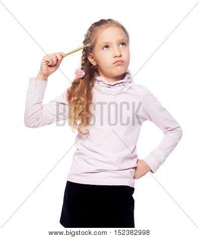 Thinking girl isolated on white. School child elementary