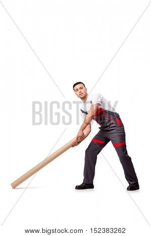 Plumber with plastic pipe isolated on white