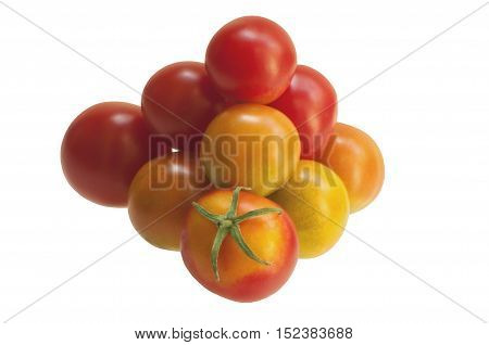 Pyramid from tomatoes, isolated on white background