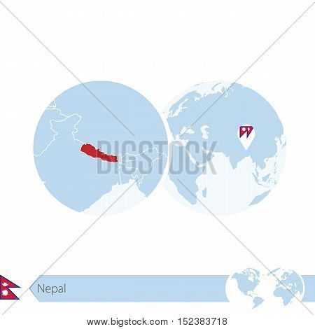Nepal On World Globe With Flag And Regional Map Of Nepal.