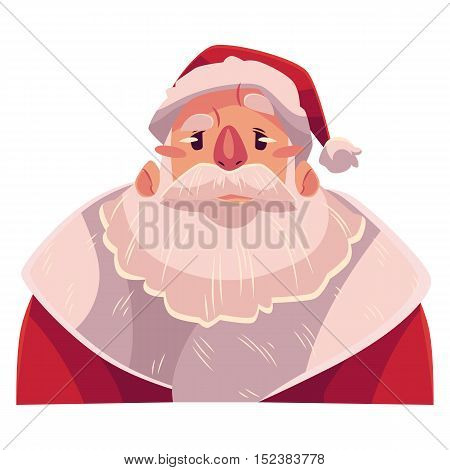 Santa Claus face, angry facial expression, cartoon vector illustrations isolated. Santa Claus emoji face icons, feeling distressed, frustrated, sullen, upset. Angry face expression
