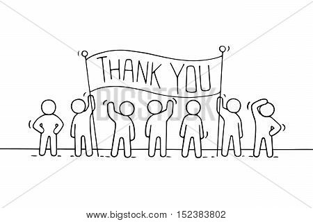 Cartoon working little people with phrase Thank you. Doodle cute miniature scene of workers hold banner. Hand drawn vector illustration for business design.