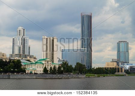 Yekaterinburg city center skyline and Iset river.