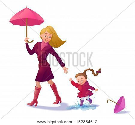 Smiling mother and daughter walking. Banner with cartoon characters in autumn outfit. Woman and girl with umbrella walking outdoors.Vector illustration