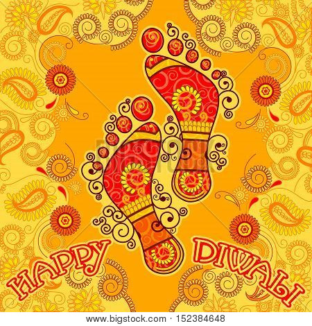 Vector design of Goddess Lakshmi foot print for Happy Diwali prayer festival of India in Indian art style