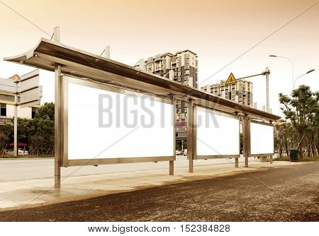 The blank side of the road city billboards