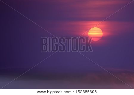 Mystery misty Halloween autumn sunset or sunrise with copy space