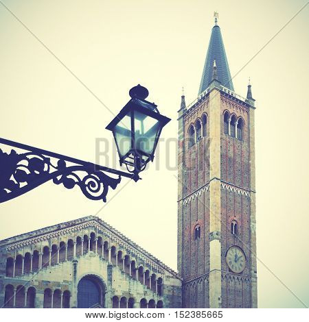 Bell tower of Cathedral (Duomo) in Parma, Italy. Instagram style filtered image