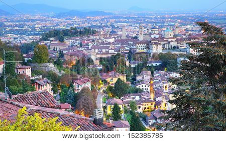Panoramic view of Old Town of Bergamo, Italy