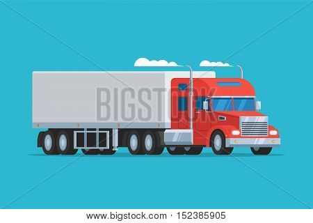 Big semi truck. Concept logistic auto transportation. Heavy american red tractor pulls the trailer. Vector flat trendy illustration