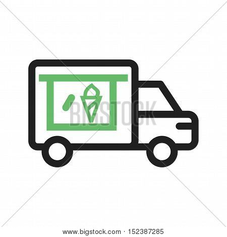 Icecream, van, vehicle icon vector image. Can also be used for vehicles. Suitable for mobile apps, web apps and print media.