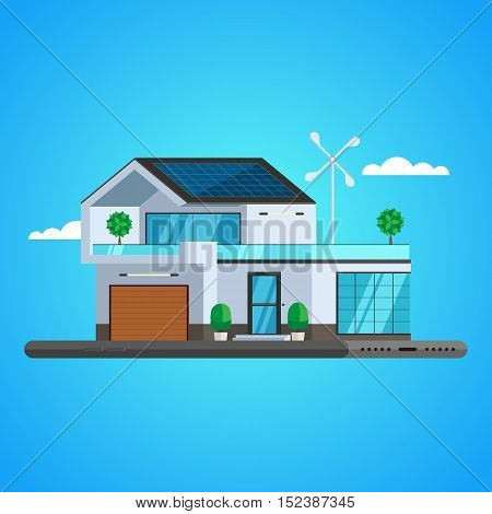 Concept of smart house technology system. Centralized control Smart phone. Vector Illustration trendy flat design for web and printed materials