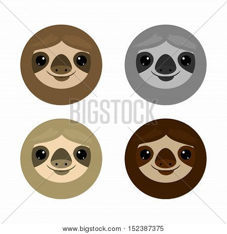 Cute face sloth, Animals. sloth on white background Vector Illustration