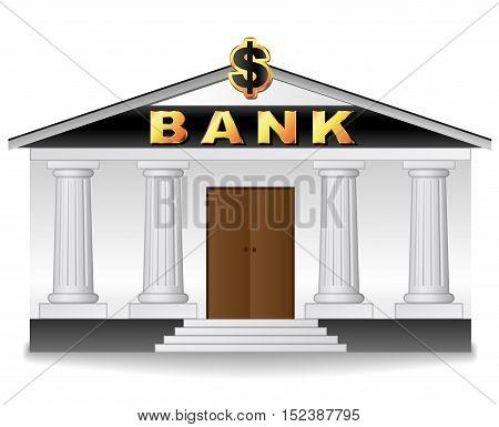 Illustration of bank building on white background