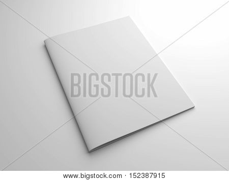 Blank photo-realistic brochure or magazine in US-letter format isolated on gray with shadows. 3d rendering mockup.