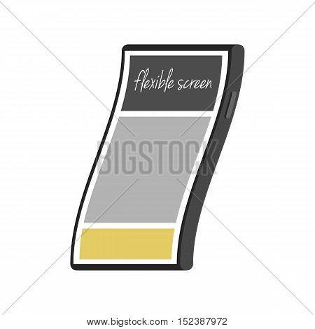 Flexible smartphone screen. The technology concept a flexible touchscreen. Vector illustration in flat style trend isolated on white background