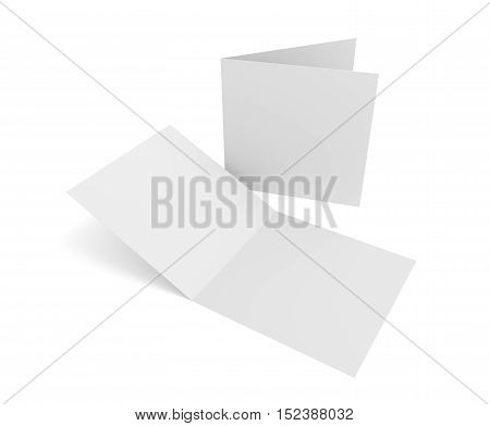 Blank square two-leaf greeting card or brochure isolated on white. 3d rendering mockup.