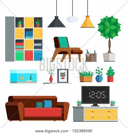 Furniture Interior set. Living room: lamp, wardrobe, plants, sofa, TV, painting, tree, shelves chair Flat style trendy vector illustration sign isolated on white background