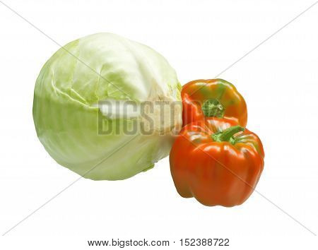 Head of cabbage and two sweet peppers. Ingredients for cooking
