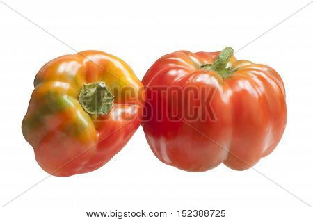 Two sweet peppers, isolated on white background