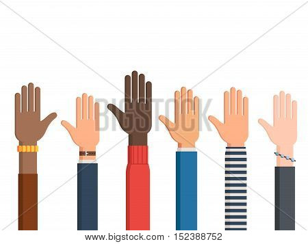 Different human rights hands and one left hand with sleeves and accessories palm up. Vector illustration isolated on white background