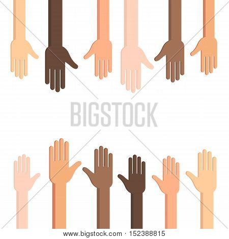 Many Human hands with outstretched palm. Conceptual vector illustration isolated on white background for web design banner or print card