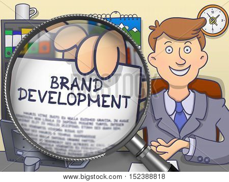 Business Man Holds Out a Paper with Inscription Brand Development. Closeup View through Magnifying Glass. Multicolor Doodle Style Illustration.
