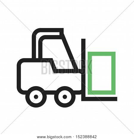Forklift, truck, load icon vector image. Can also be used for vehicles. Suitable for use on web apps, mobile apps and print media.