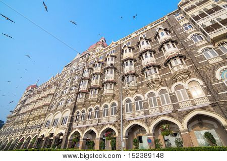 Mumbai, India - February 27, 2016: Taj Mahal Hotel, five star luxury hotel located near Gateway of India and one of the famous buildings in Mumbai, India. Wide angle shot