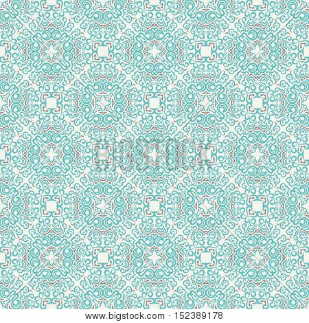 Seamless islam pattern. Vintage floral background. Vector islamic royal aquamarine pattern. Oriental design and baroque wallpaper