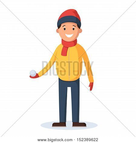 Young man with snow ball in hand, playing in the snow outdoors. Vector illustration cartoon isolated on white background