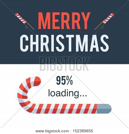 Merry Christmas loading bar,  Candy Cane. Holidays concept sign. Vector illustration for holiday design web banners website or greeting cards