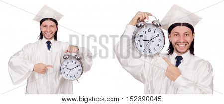 Young man student with clock isolated on white