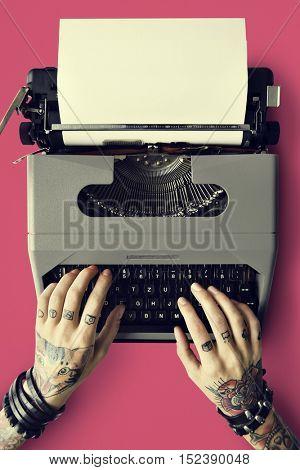 Tattoo Typewriter Machine Letter Journalism Concept