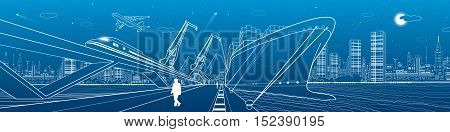 Transportation and industrial panorama. Cargo ship loading, boats on the water, sea harbor, train move on the bridge, airplane fly, night city, people go on the pier. Vector design art