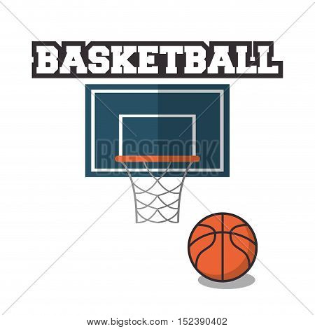 Ball and basket icon. Basketball sport hobby and competition theme. Colorful design. Vector illustration