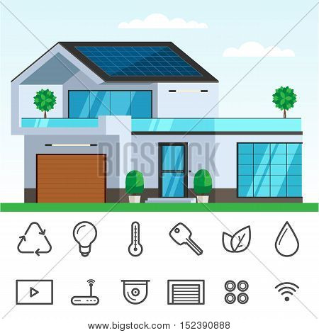 Smart house with solar panel on the roof. Concept of ecology house, technology icon set. Vector Illustration trendy flat design for web and printed materials