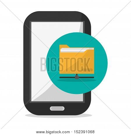 Smartphone and file icon. Social media marketing communication theme. Colorful design. Vector illustration