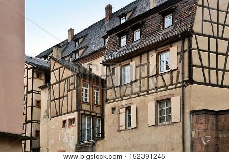 Colmar, France - April 23, 2016: View of old typical half-timbered houses. Colmar, Alsace, France.