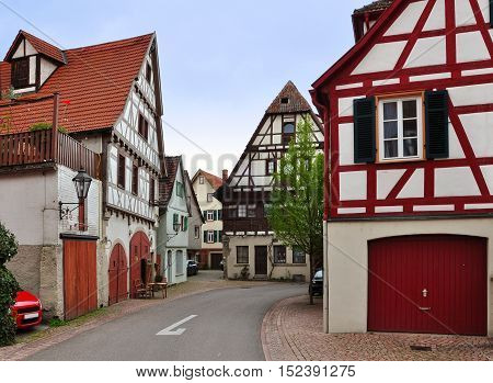 The walking street of Besigheim with old half-timbered houses in perspective. Baden-Wurttemberg, Germany.