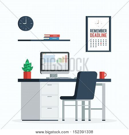 Workplace with computer, clock and poster remember the deadline a Cup of coffee and plants for Desk, home office. Trandy flat design vector illustration for web banners and printed